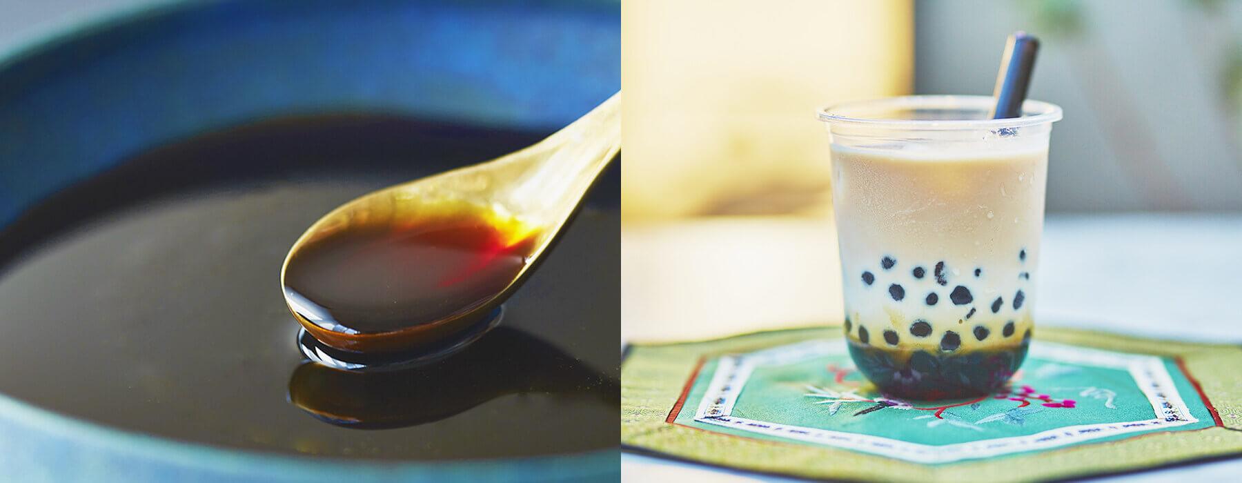 沖縄県産の黒糖と台湾産のタピオカを使用し、試行錯誤した独自の製法。